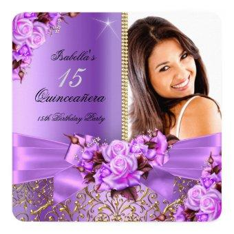 Purple Pink Rose Gold 15th Birthday