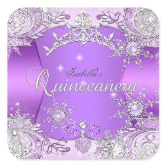 Purple Winter Wonderland Snowflakes Square Sticker