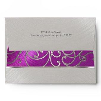 Raspberry and Silver Filigree Swirls Envelope