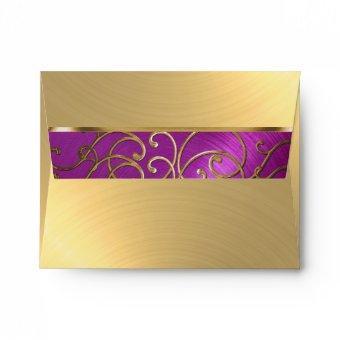 Raspberry Pink Gold Filigree Swirls Envelope
