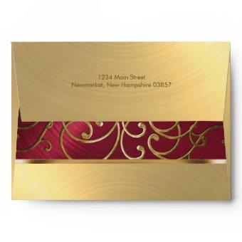 Red and Gold Filigree Swirls Envelope