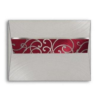 Red and Silver Filigree Swirls Envelope