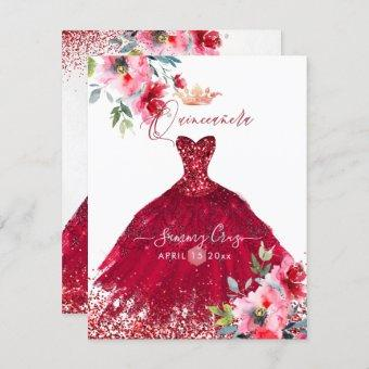 Red Sparkle Gown Watercolor Flowers In