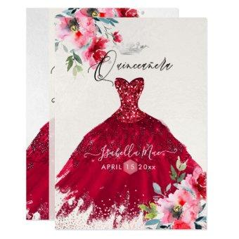 Red Sparkle Gown Watercolor Flowers