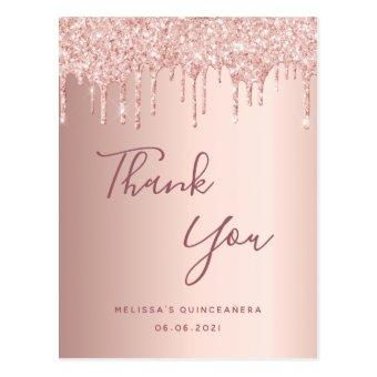 rose gold glitter drips thank you post