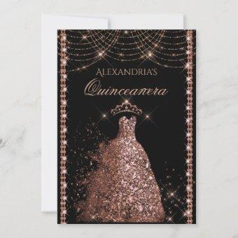 Rose Gold Glitter Gown Sparkle Lights