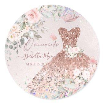 Rose Gold Glitter Quince Dress Classic Round Sticker