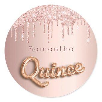 rose gold glitter quince monogram classic round sticker