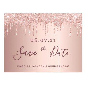 rose gold glitter save the date post