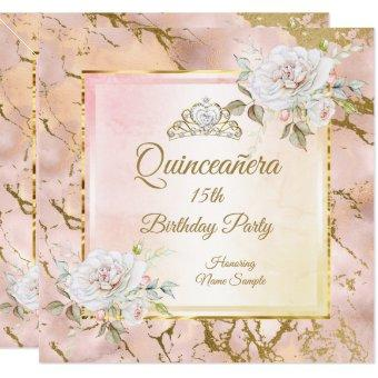 Rose Pink Gold Birthday Party Invite 2