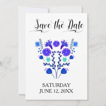 Royal Blue and Purple Mexican Floral Save The Date
