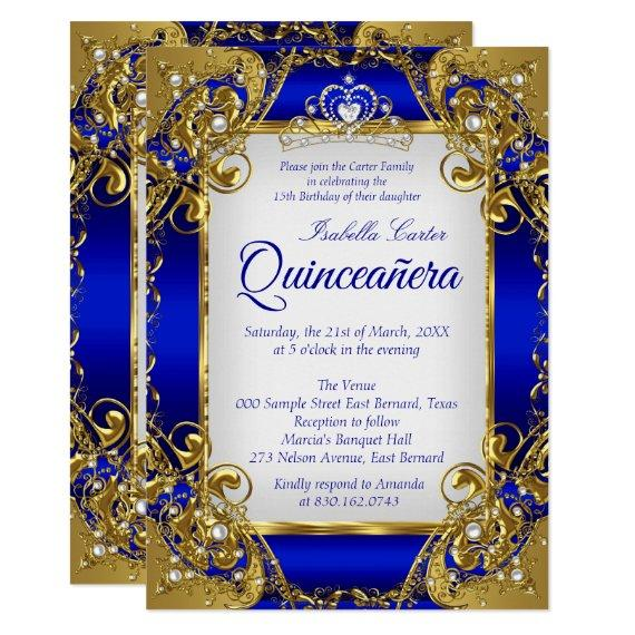 Royal Blue Golden Pearl Tiara Party