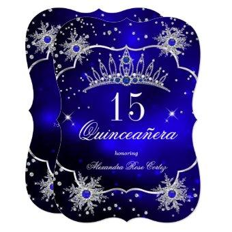 Royal Blue Snowflake Tiara 15th Party