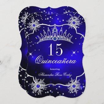 Royal Blue Snowflake Tiara 15th Party