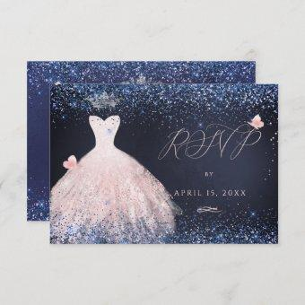 RSVP Butterfly Blush Gown Navy In