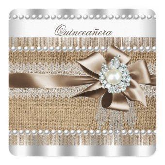 Rustic Burlap Pearl Lace Pearl