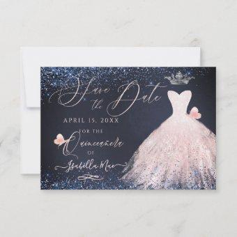 Save Date Butterfly Blush Gown Navy