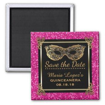 Save the Date Birthday Pink Gold Magnet