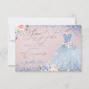 Save the Date Dusty Blue Gown