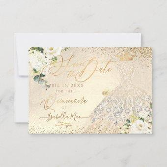 Save the Date Gold Faux Glitter Gown I