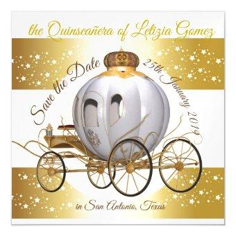 Save the Date Gold Princess Carriage Magnetic