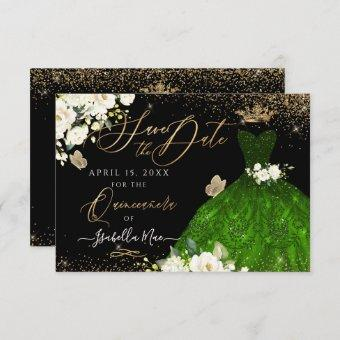 Save the Date Green Faux Glitter Gown