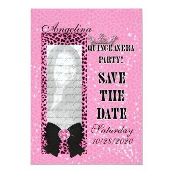 Save the Date Pink Cheetah Print