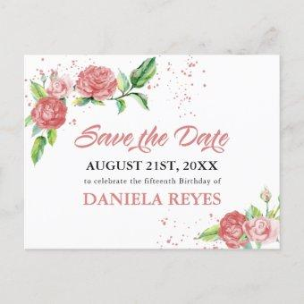 Save the Date Pink Roses Watercolor Announcement Post