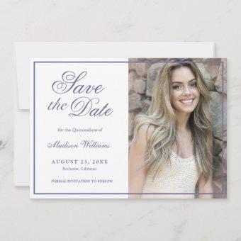 Quinceañera Save The Date Purple Glitter Photo