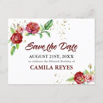 Save the Date Red Roses Watercolor Announcement Post
