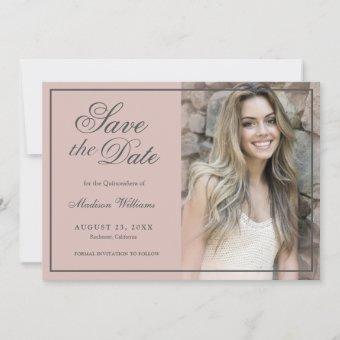 Quinceañera Save The Date Rose Gold Blush Photo