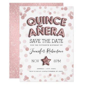 Quinceañera Save The Date Rose Gold Glitter