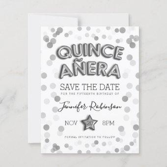 Save The Date Silver Balloons Glitter