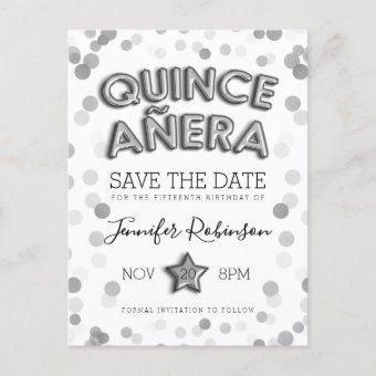 Save The Date Silver Balloons Glitter Announcement Post