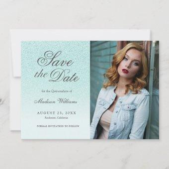 Quinceañera Save The Date Teal Blue Glitter Photo
