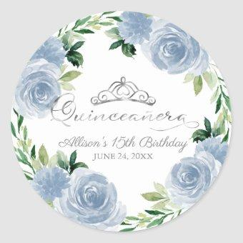 Silver Tiara Light Blue Floral Classic Round Sticker