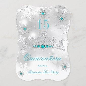Silver White Teal Blue Pearl Snowflake