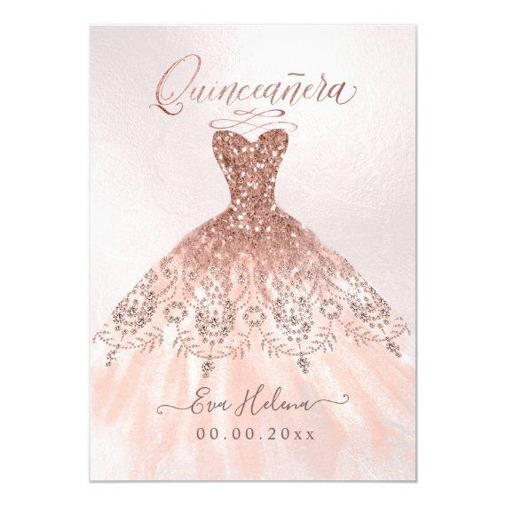 Quinceañera , Sparkle Gown, Faux Rose Gold