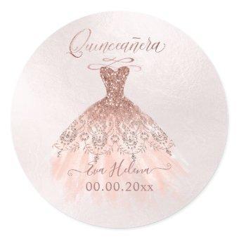 Quinceañera , Sparkle Gown, Faux Rose Gold Classic Round Sticker