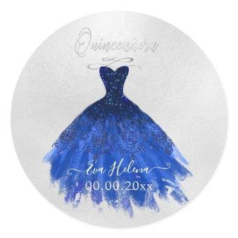Quinceañera , Sparkle Gown, Navy Blue Classic Round Sticker