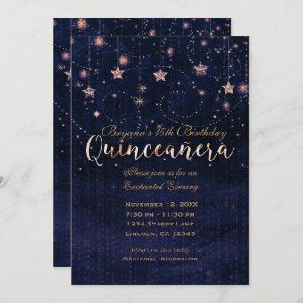 Quinceañera Starry Night Purple & Gold Whimsical
