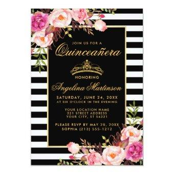 Striped Pink Floral Gold Crown Invite