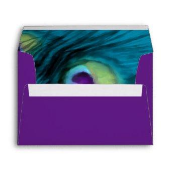 Teal and Purple Peacock Envelope