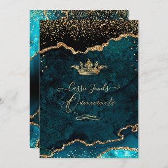 , Teal Blue Agate Faux Gold Confetti