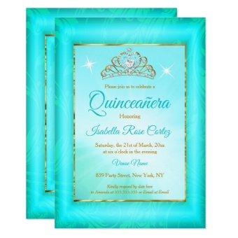 Teal blue Damask Gold Tiara photo