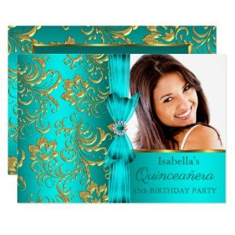 Teal Blue Gold Damask Floral Photo