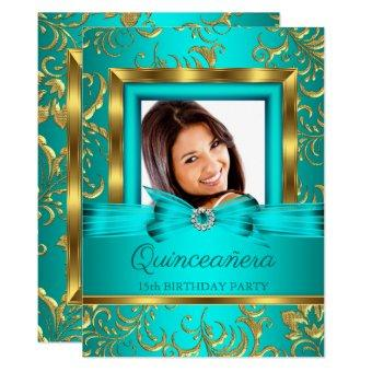 Teal Blue Gold Floral Photo
