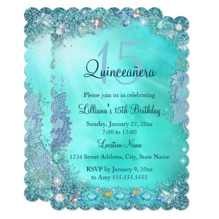 Quinceanera Teal Blue Ocean Jewel Birthday Party Invitation