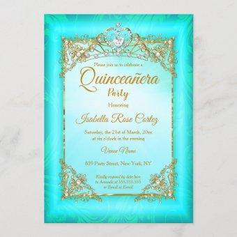 Teal blue pearl photo Gold Tiara party