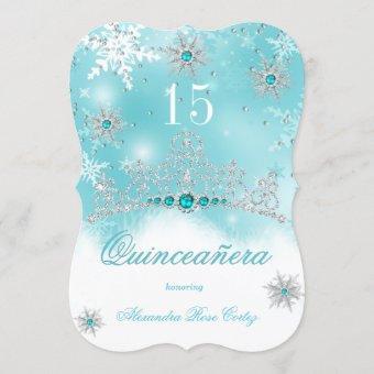Teal Blue Pearl Snowflake 15 Birthday